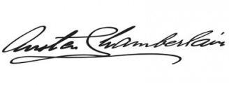 Unterschrift Austen Chamberlain