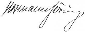 Unterschrift Hermann Göring