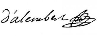 Unterschrift Jean-Baptiste le Rond d'Alembert