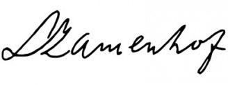 Unterschrift Ludwik Zamenhof