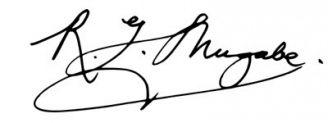 Unterschrift Robert Mugabe
